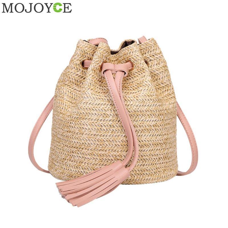 Casual Mini Beach Crossbody Shoulder Bags Women Straw Weave Tassel Summer  Boho Fashion Handbags 05e66bffe5a61
