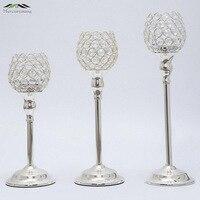 Nuevo metal plateado plata candelabros con cristales decoración candelabros pilar de soporte para la boda romántica al por mayor