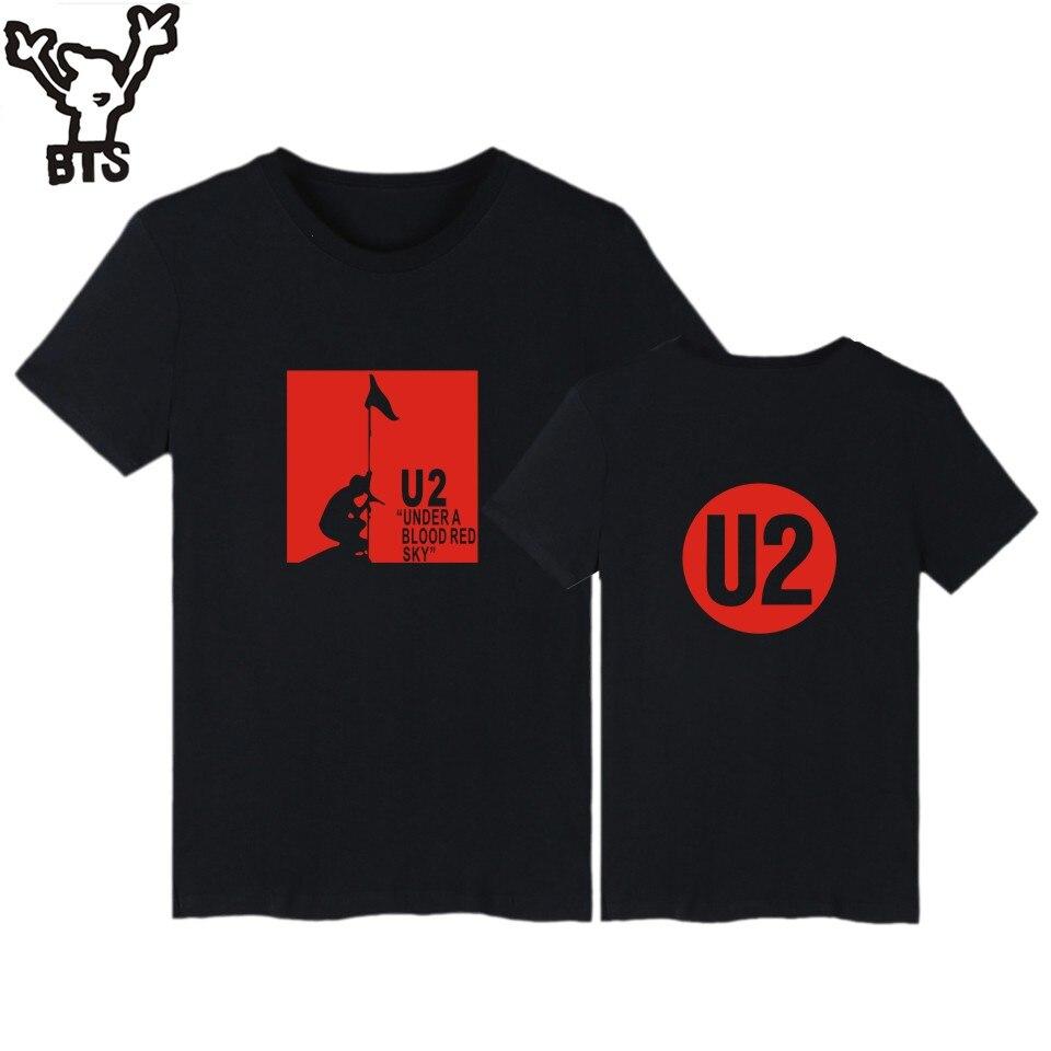 BTS NewDesign U2 Band logo Baumwolle Männer Teeshirt Mit Kurzarm und U2...