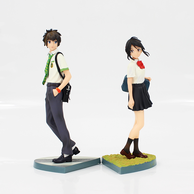 22-23cm 2Pcs/Lot Japanese Anime Figure Kimino Na Wa Miyamizu Mitsuha Your Name Tachibana Taki Action Figures Model Toys Dolls 1