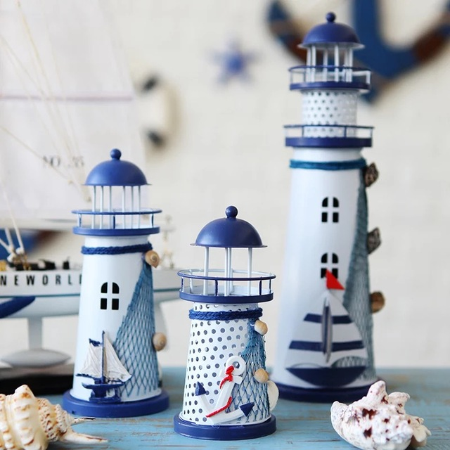 LED Iron Tower Candle Holder Mediterranean-style Lighthouse Wrought Holiday Candlestick Home with light Wedding Party Decor 5