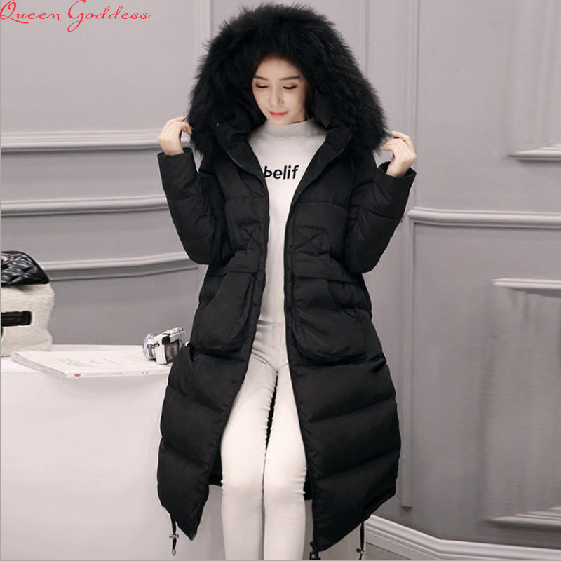 2017 new large fur collar down jacket women in the long section of the knee warm thickening down jacket