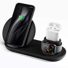 3 в 1 беспроводная зарядная подставка для Apple Watch и Airpods Qi быстрый беспроводной зарядный блок совместимый iPhone X/XS/XR/Xs Max/8