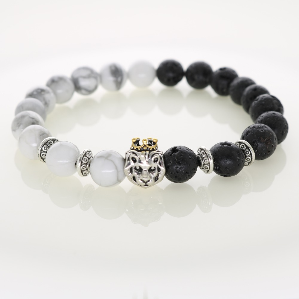 2015 Natural Stones Silver Lion Charm Bracelet with Gold Crown Turquoise & Lava Beads Men Bracelet Elastic  For Women Jewelry