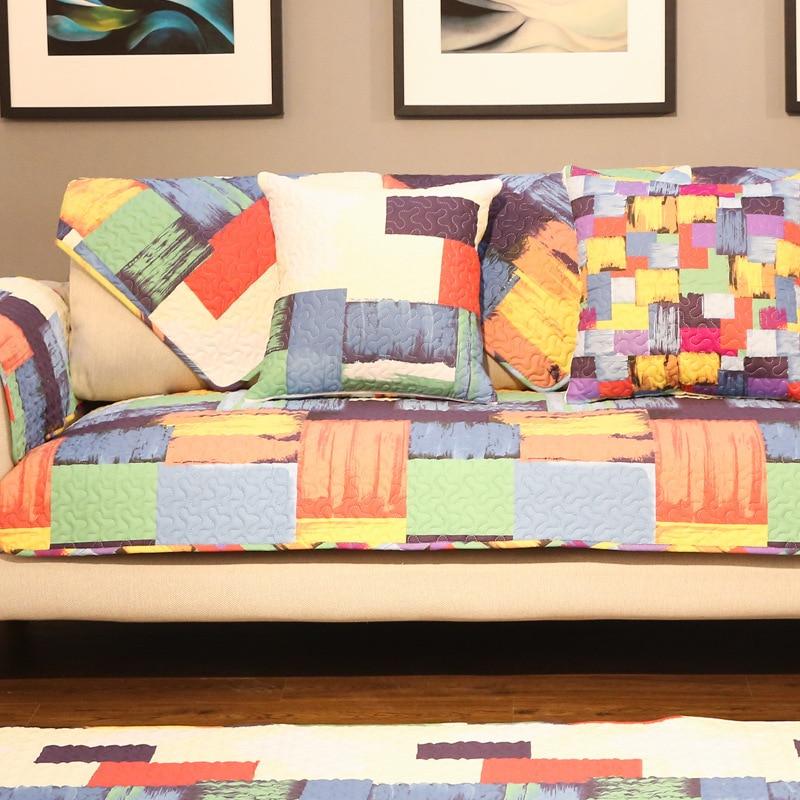 Plaid Cotton Sofa Cover Cloth Colorful