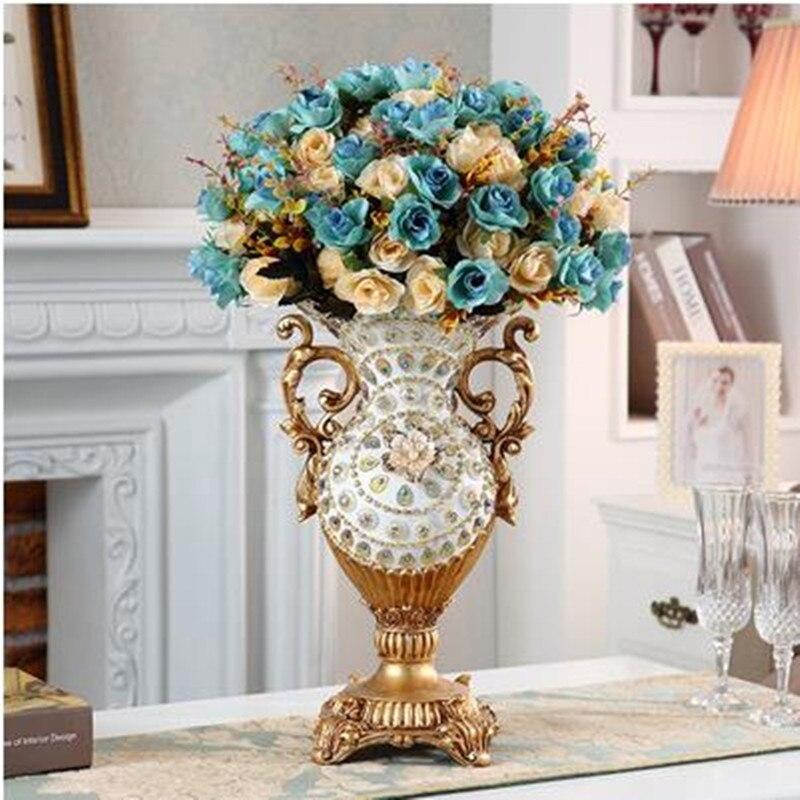 European resin vase decoration, living room flower arrangement, retro creative home table decoration-in Vases from Home & Garden    1