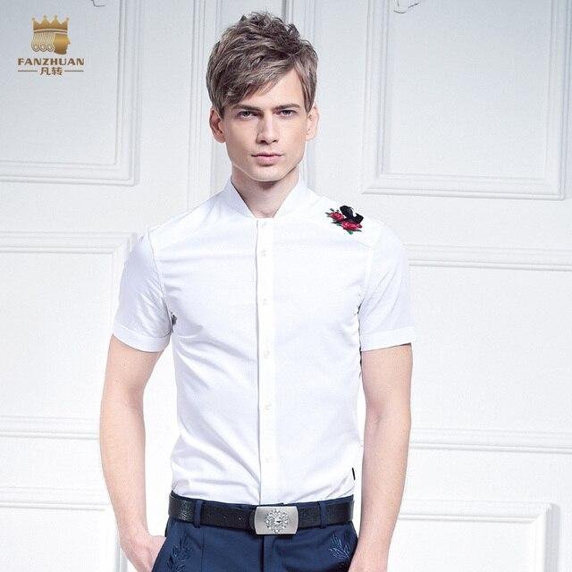 Free Shipping New fashion casual male men's Summer Court shirt sundress man slim Rose Flower Embroidery Shirt 612044 FanZhuan