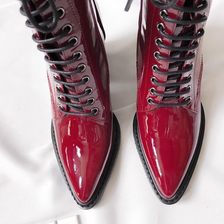 as Romaines Haute Talon Court Marque Cuir Avant Chaussures Élégant Pointu En Pic Bottes Chaude Femmes As Lacent Chic Cheville Chaussons Bout Pic eWE2YDH9Ib