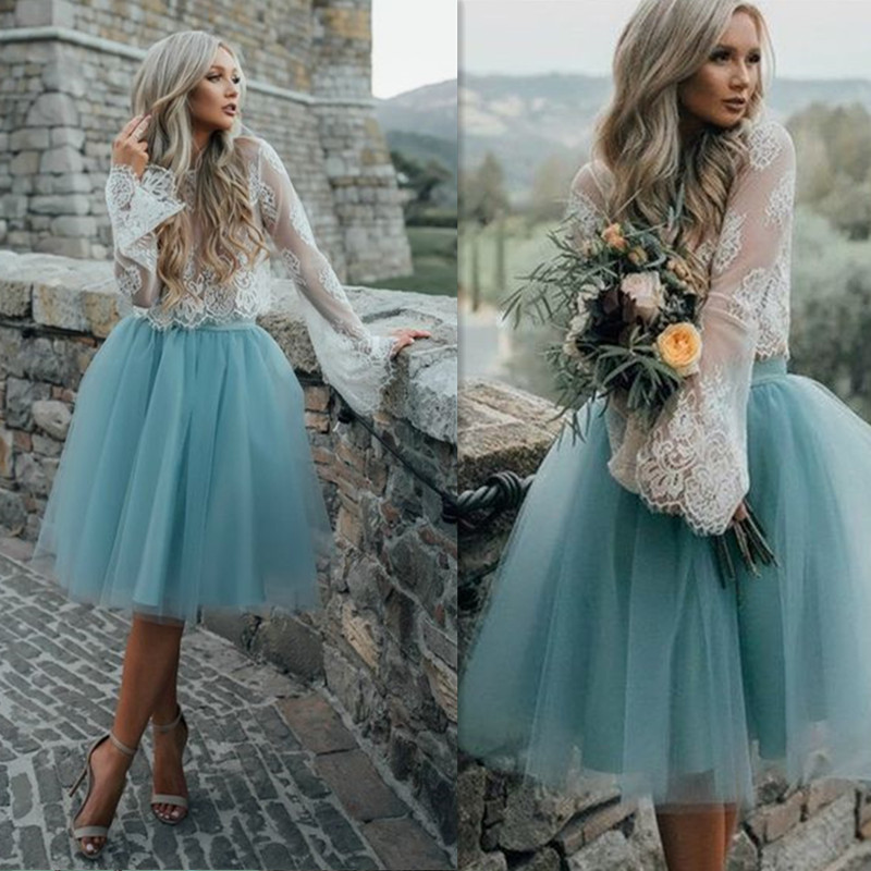 Illusion Lace Full Sleeves Applique Two Piece   Prom     Dress   with Zipper Back Tulle Ball Gown Knee-Length Party   Dress   Evening   Dress