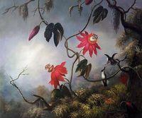 Flores da paixão com Colibris, 1893 por Martin Johnson Heade Pintura Decorativa Flor Pintura A Óleo de Cozinha de Alta Qualidade
