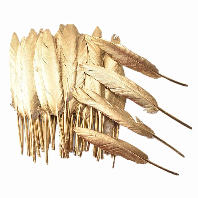 ขายส่ง 10-100-500pcs สีทองห่าน/เป็ด/ตุรกี Feathers DIY อุปกรณ์ตกแต่ง Plumes DIY feathers สำหรับงานฝีมือ