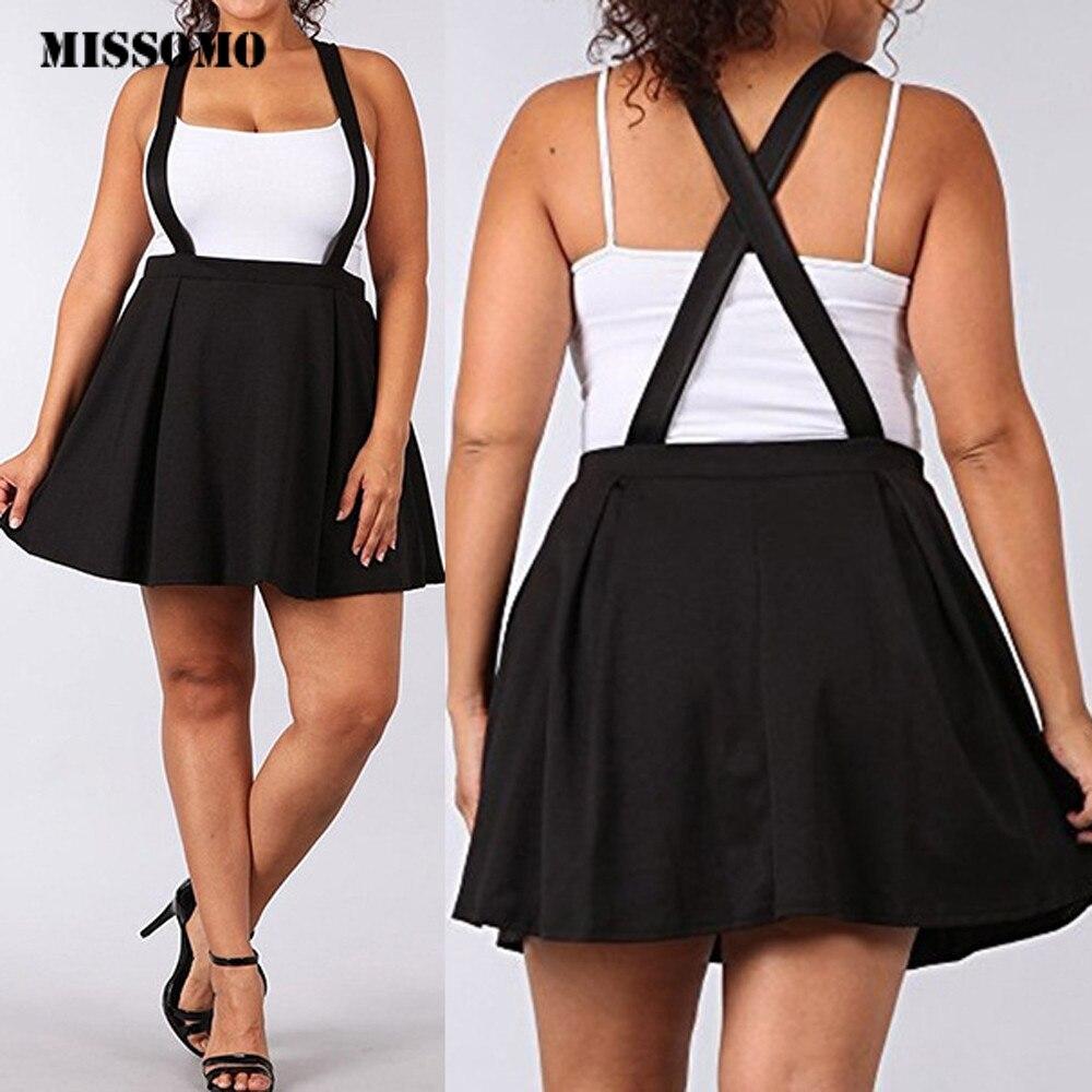 MISSOMO 5XL Womens Skirt Black Skirt  Loose Strap Pure Color Short Mini Pleated Skirt Checkered Clothes Women