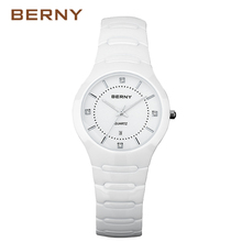 BERNY Luxury White Womens Quartz Wristwatches Ceramic Watch Black Bracelet Fashion Ladies Casual Waterproof Clock 2322