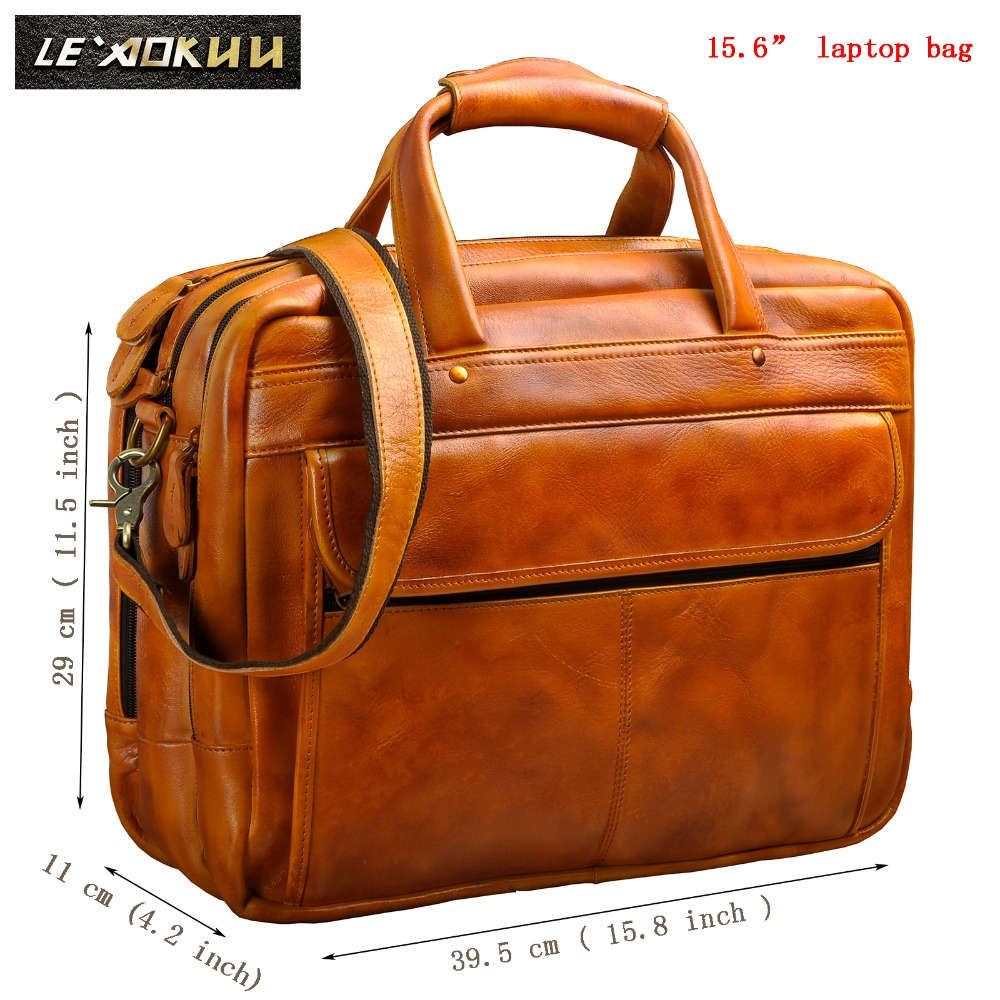 Men Oil Waxy Leather Antique Design Business Briefcase Laptop Document Case Fashion Attache Messenger Bag Tote Portfolio 7146-w