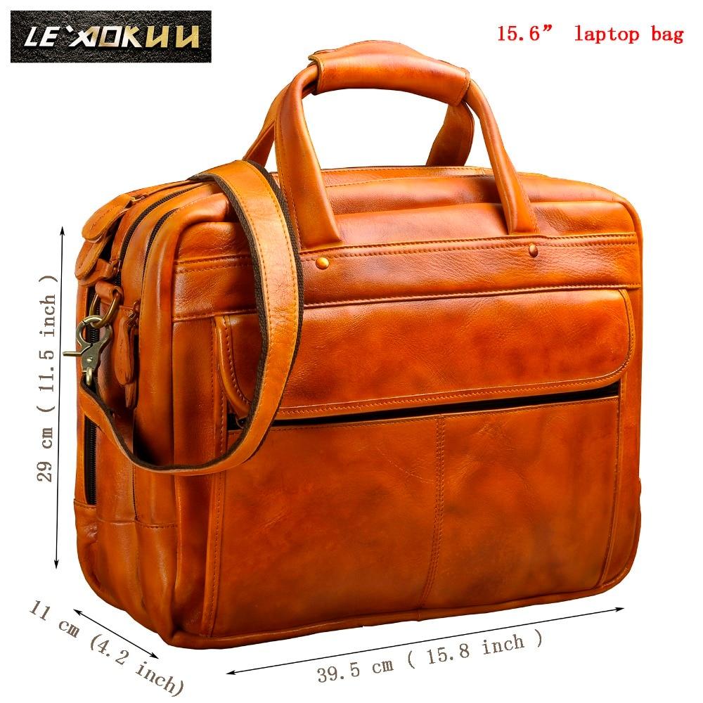 Men Oil Waxy Leather Antique Design Business Briefcase Laptop Document Case Fashion Attache Messenger Bag Tote Portfolio 7146-w