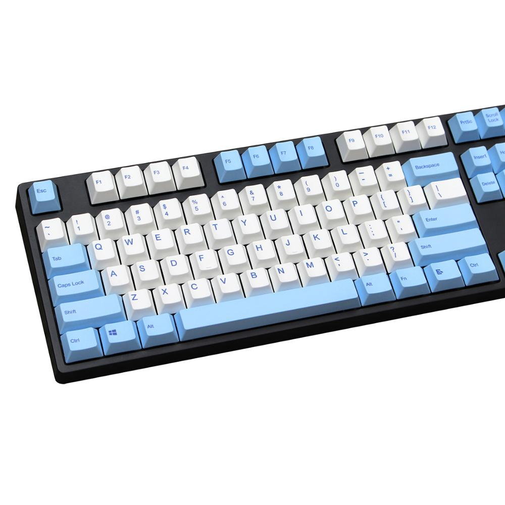 Blue and White mix keycap 124 keys PBT Cherry Profile Dye Sublimated MX Switch For Mechanical