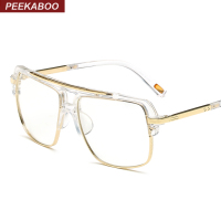 Peekaboo Big Fashion Eye Glasses Frames For Men Brand Black Clear Frame Latest Male Spectacle Frames
