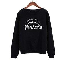 Fashion Harajuku Printed Tops Black White Fleece Hoodies Pullovers Vetement Femme Pacific Northwest Women Sweatshirt Winter