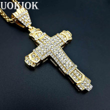 Hip Hop Iced Out Big Cross Necklace For Men Stainless Steel Gold Color Rhinestones Necklaces Pendants Male Christian Jewelry(China)