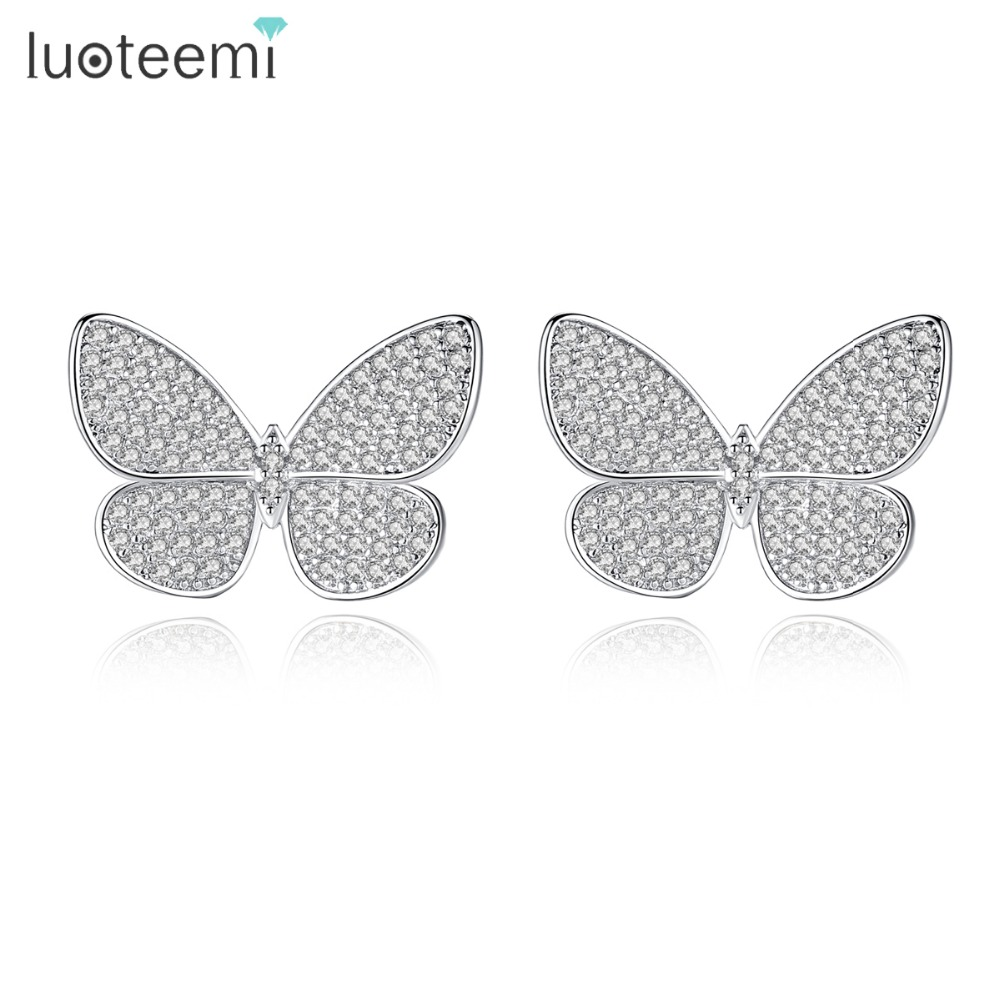 LUOTEEMI Delicate Stud Earrings Micro Paved Shining Tiny Clear Cubic Zirconia Insect Butterfly Shape Ear Accessories for Girls