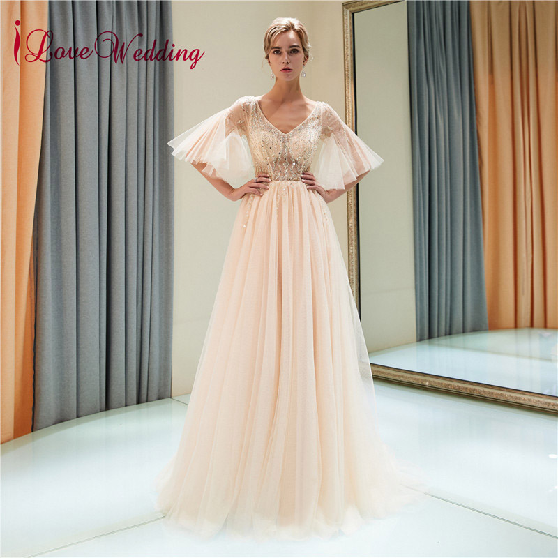 iLoveWedding 2018 Hot Sale V Neck Crystal Beaded Tulle Custom made Bell Sleeves Sexy Long Evening Dresses
