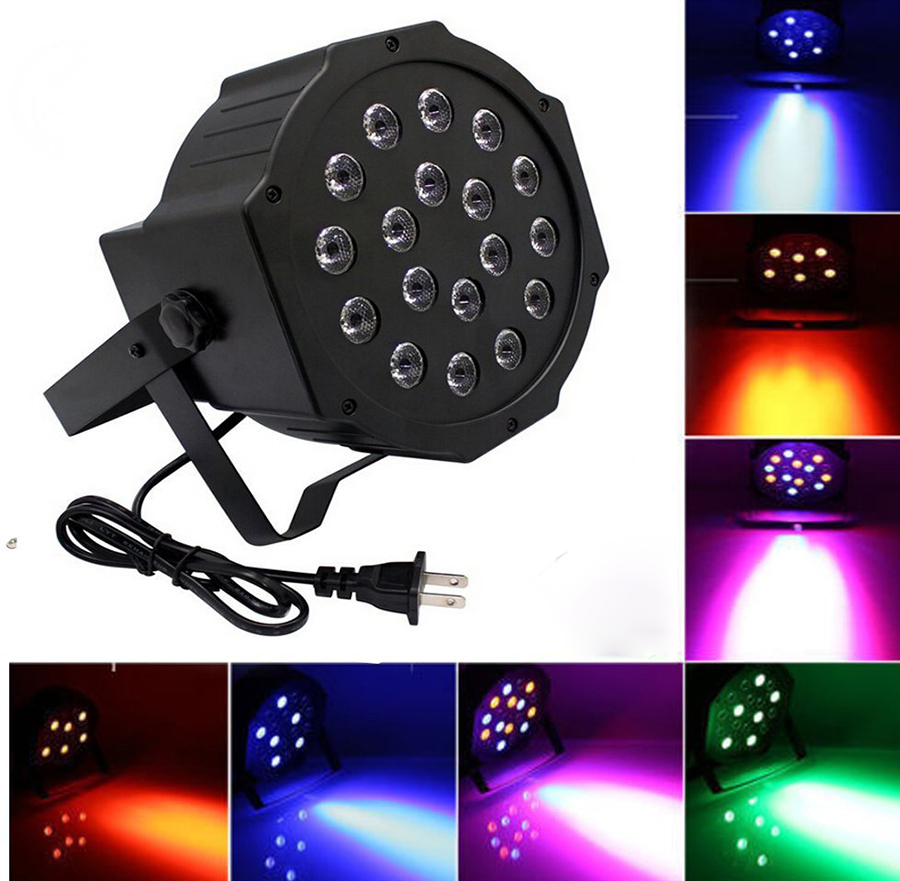 Professional LED Stage Lights 18W RGB PAR LED DMX Stage Lighting Effect DMX512 Master-Slave Led Flat for DJ Disco Party KTV