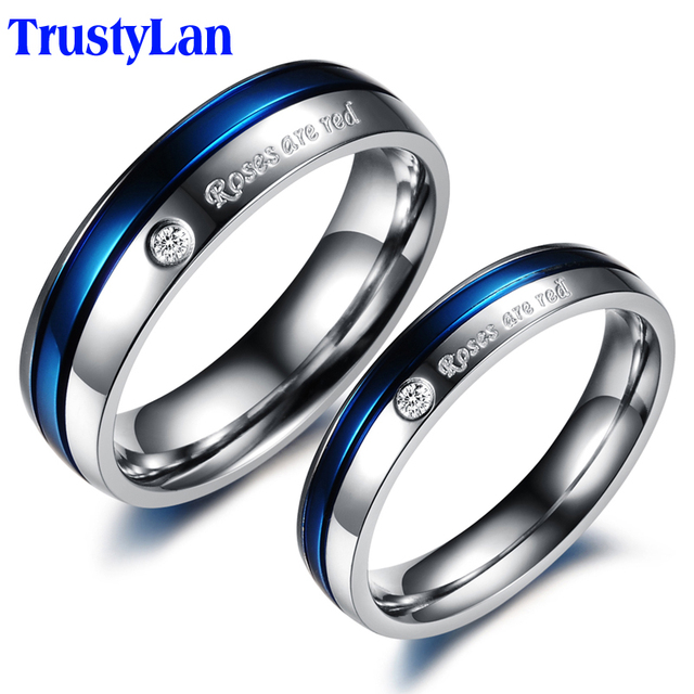trustylan blue engagement rings for men and women his and hers promise ring sets stainless steel - Blue Wedding Rings