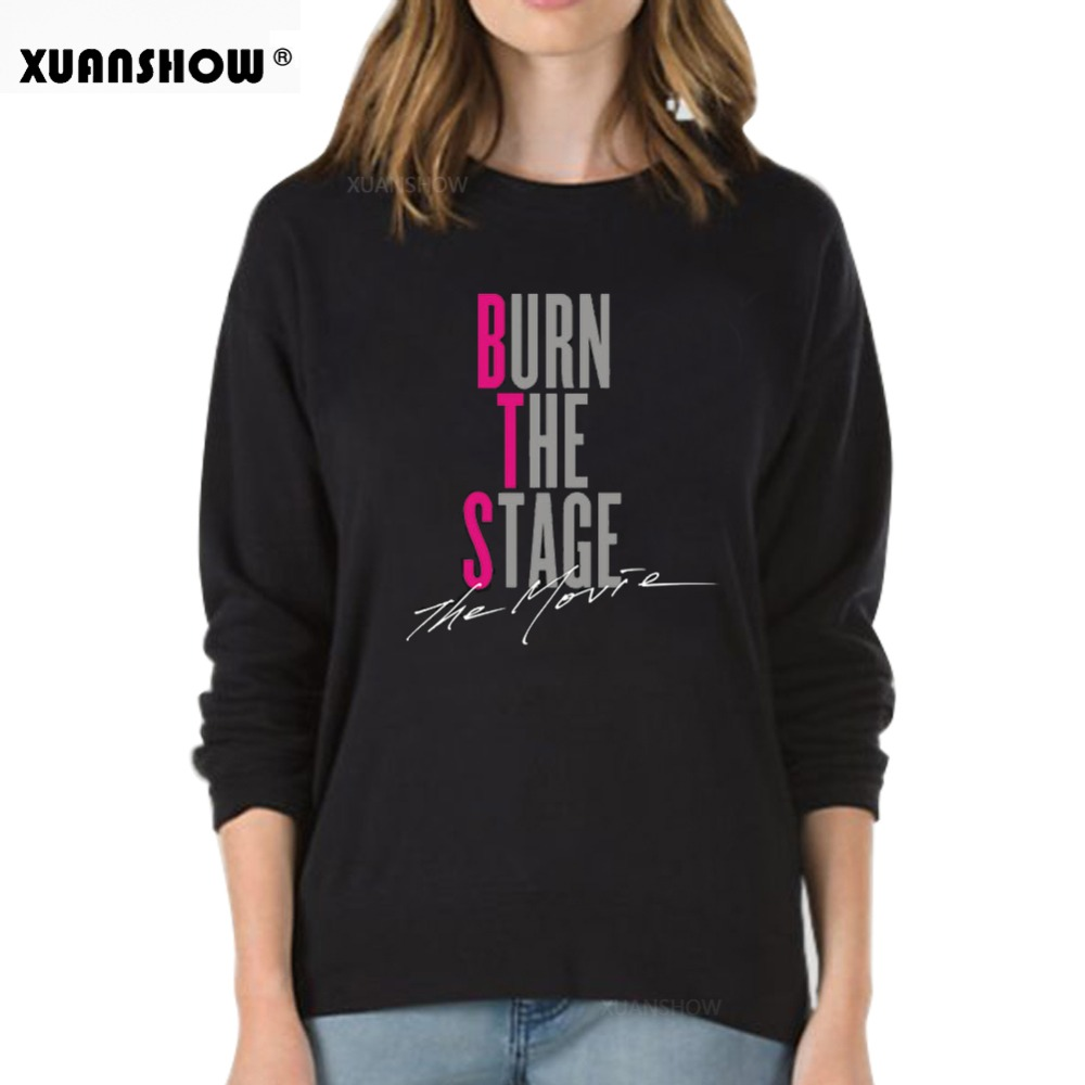 XUANSHOW 2019 Kpop Unserxi Hoodies Sweatshirts Clothes BURN THE STAGE THE MOVIE Letters Printed Pullover Tops Moletom S-5XL