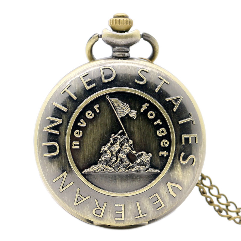 Remember The History United States Veteran Bronze Pocket Watch With Necklace Chain Free Shipping old antique bronze doctor who theme quartz pendant pocket watch with chain necklace free shipping
