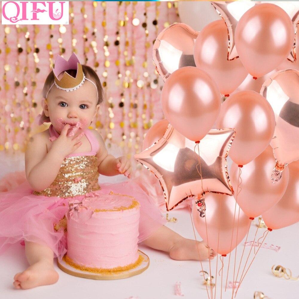 QIFU helio corazón Foil globos oro rosa aire estrella decoración de ...