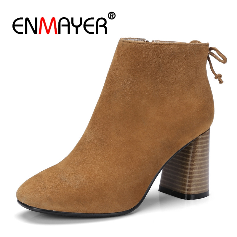 ENMAYER 2018 Fsahion Women Boots Flock Ankle Boots Round Toe Winter Women Boots Ladies Party Western Stretch Fabric Boots CR611