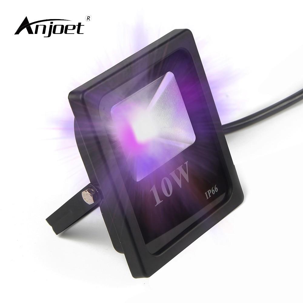 anjoet 10 w ao ar livre luz negra uv 395nm ultravioleta levou luz de inundacao blacklights