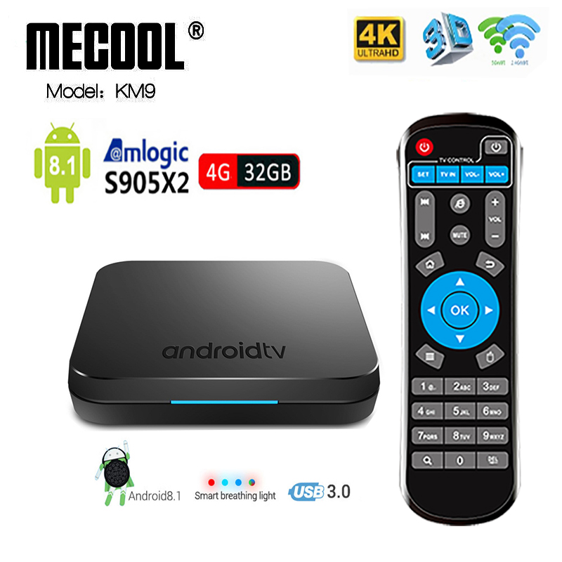 Mecool KM9 TV Box Android 8,1 DDR4 4G 32G S905X2 USB3.0 Smart 4 K Set Top Box 2,4 g/5G Dual WIFI Bluetooth 4,1 caja de TV m8s pro