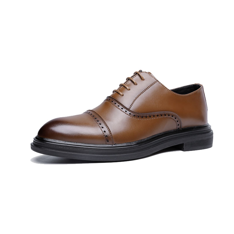 DXKZMCM 2018 en cuir véritable hommes richelieu chaussures à lacets Bullock affaires robe hommes Oxfords chaussures hommes chaussures formelles - 3