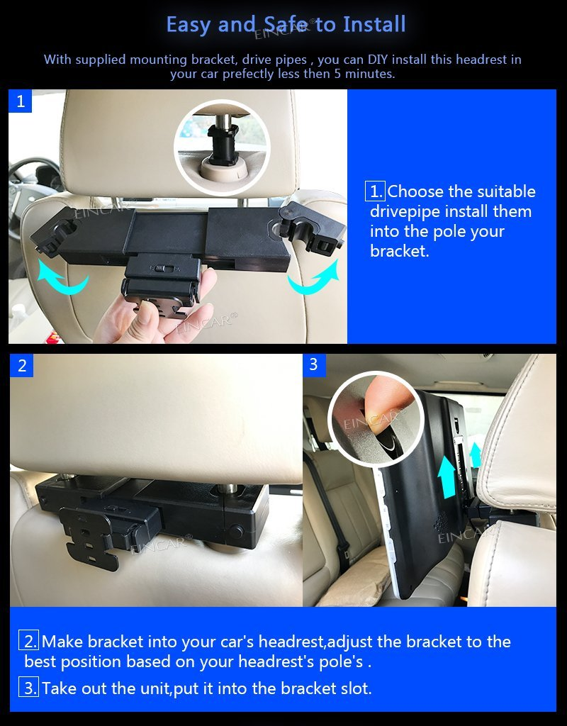LCD Screen DVD Player TFT Screen Car Backseat Headrest Portable DVD Player support USD SD HDMI 32 Bits Game Disc - Black