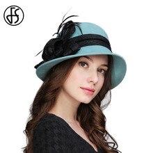 FS elegante flor hecha a mano con Plumas invierno 100% lana Fieltro sombrero  ancho BRIM señora fedors moda vintage Cloche Bowler. 4fa986b05cc3