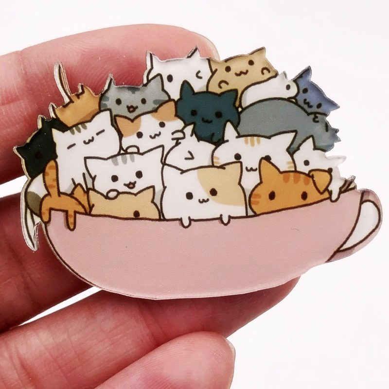1 szt Cute Cartoon ułożone kot akrylowe broszka dla kobiet ubrania odznaka ikony na plecaku broszki szpilki odznaki dzieci prezent