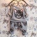 Estilo de moda Roupas de Bebê Menino Definir Gato Cinzento Dos Desenhos Animados O-pescoço Pullover Roupa Dos Miúdos Terno Crianças Menino Roupas Handson