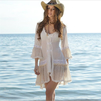 2019 Fashion summer beach dress Women sexy white lace beach cover up tassels hot sale beachwear holiday coverup S XL
