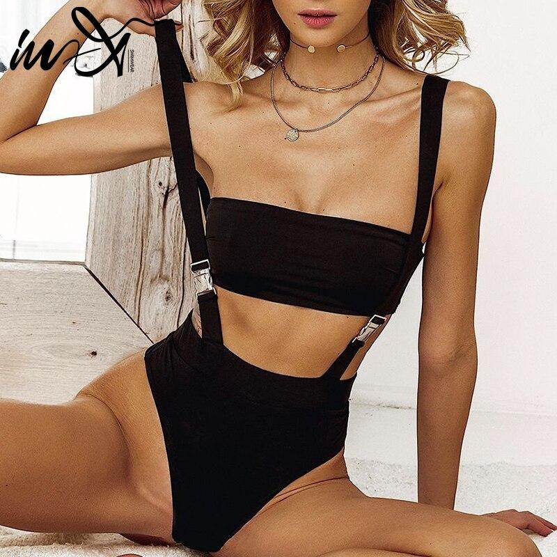 In-X Buckle Black Swimsuit One Piece Sexh High Cut Bikini 2019 Bandeau Swimwear Women Strap Bathing Suit New Bodysuit Bathers