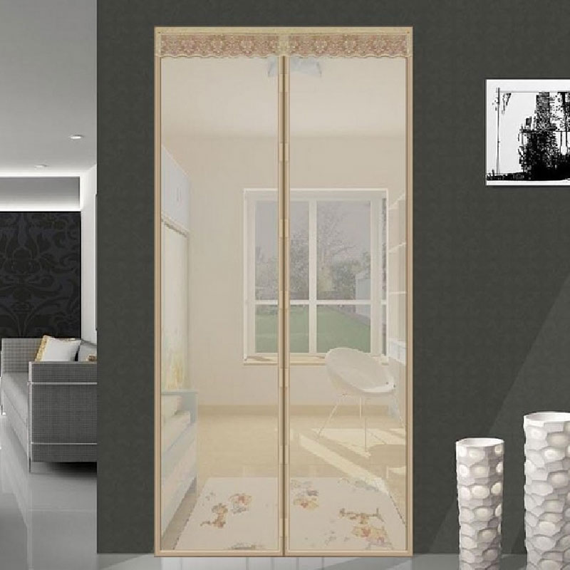 210cm High Quality Door Curtain Magic Hands-free Screen Door Mesh Summer Mosquito Net Curtain Polyester Door Curtain Black