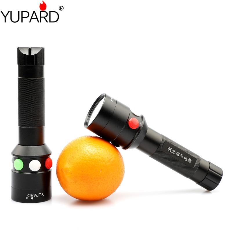 yupard  Q5 LED torch red white green yellow light LED flashlight railway signal light 18650 battery railroad lantern