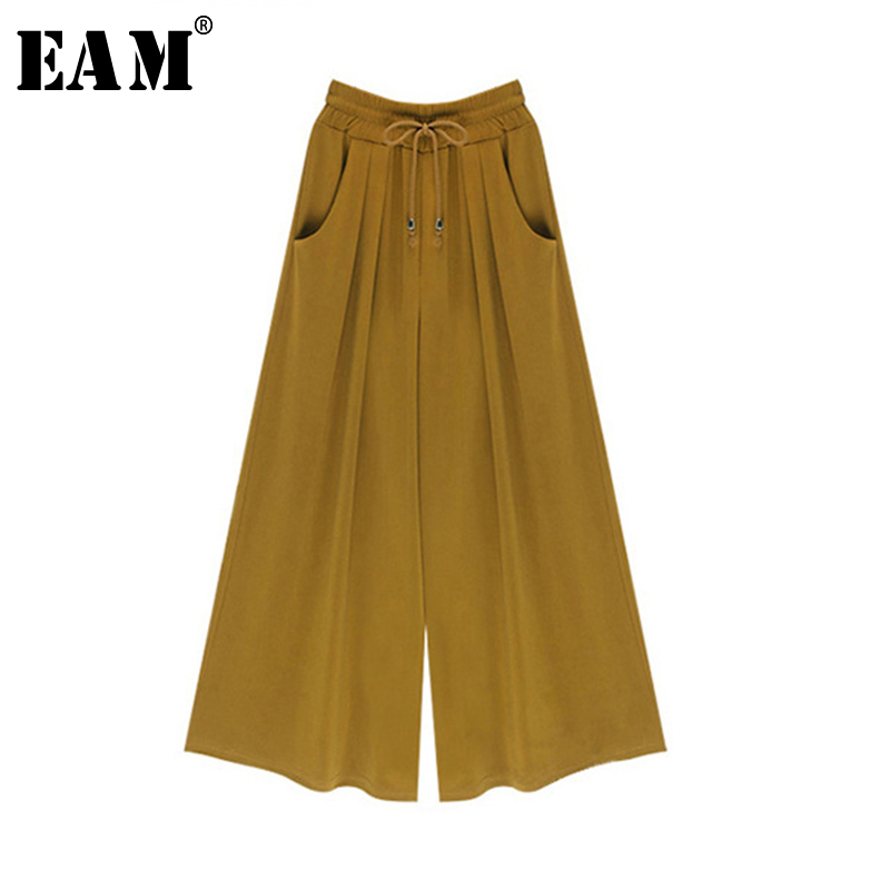 [EAM] 2019 New Spring High Waist Solid Color Black Ginger Loose Big Size   Wide     Leg     Pants   Women Trousers Fashion JC20801M