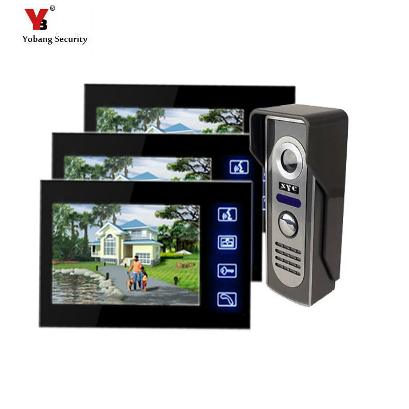 Yobang Security Freeship 7 TFT Video intercom Wired Home Doorbell Villa Door Intercom System One to Three Video Doorbell phone freeship 10 door intercom security system hands free monitor color tft lcd screen intercom system video door phone for villa