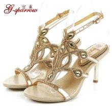 G-SPARROW 2018 Summer New Luxury Diamond High Heels Sandals Stiletto Stylish Gold Shoes Wedding Dress Rhinestone 8cm
