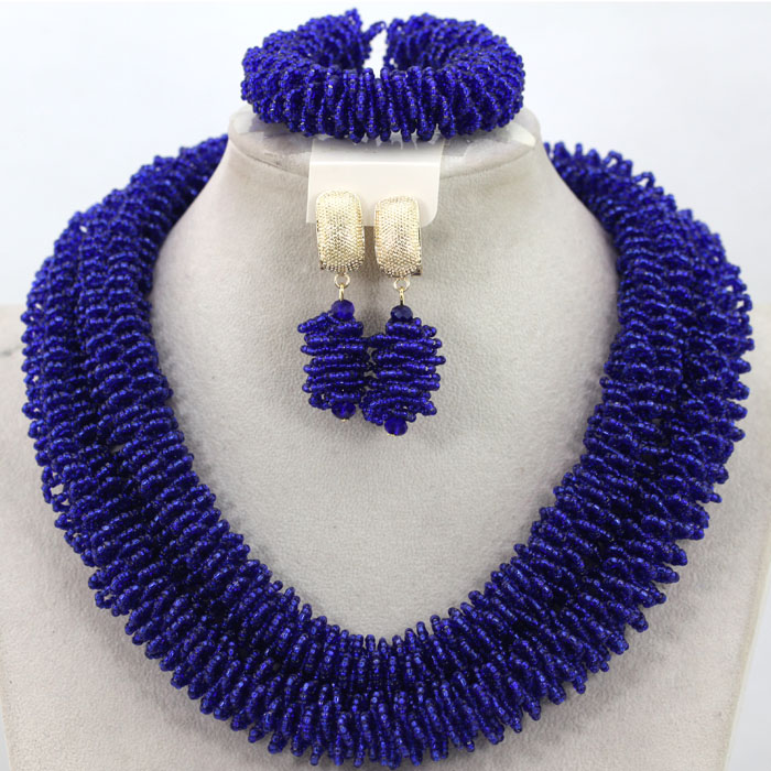 Charming Royal Blue African Beads Jewelry Set Crystal Jewelry Set for Women Nigerian Party Jewelry Set Free Shipping HX960