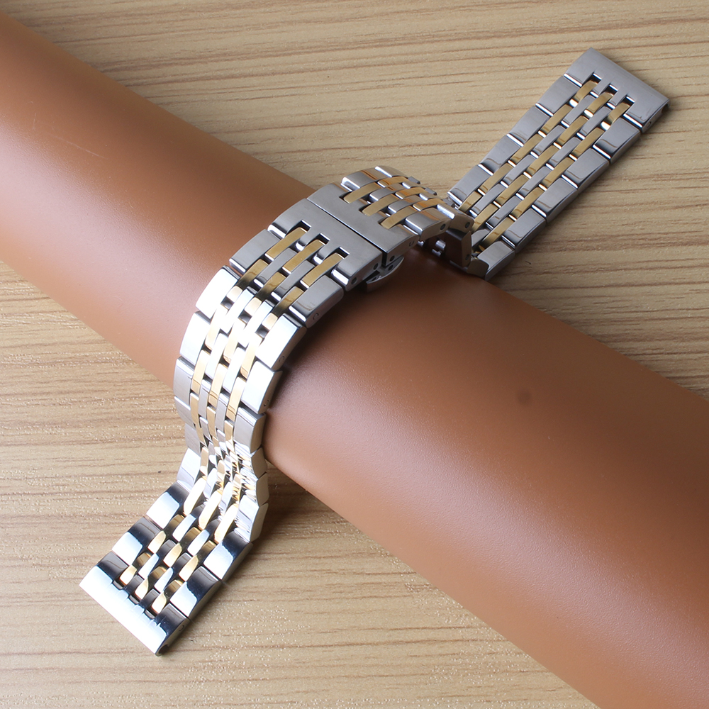18mm 19mm 20mm 21mm Stainless Steel Watch Bracelet Butterfly Folded Buckle silver and gold Watchbands Strap replace quartz watch solid scrub stainless steel brushed black gold silver rose gold finished watch band clasp buckle watchbands 16 18 20mm 24mm 26mm