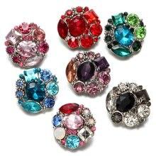 7 цветов Круглый Цветок Форма со стразами Стиль металла Талисманы 18 мм кнопки украшения для кнопки браслет щелкает ювелирных изделий KZ0616