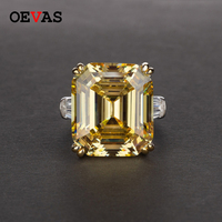 Luxury brand Big Square Pink Yellow White AAAAA+ Zicon S925 Sterling silver wedding rings Girls Birthday stone Jewelry Dropship