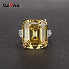 OEVAS Luxus Großen Platz Rosa Gelb Weiß AAAAA + Zicon S925 Sterling Silber Hochzeit Ringe Mädchen Geburtstag Stein Schmuck Dropship